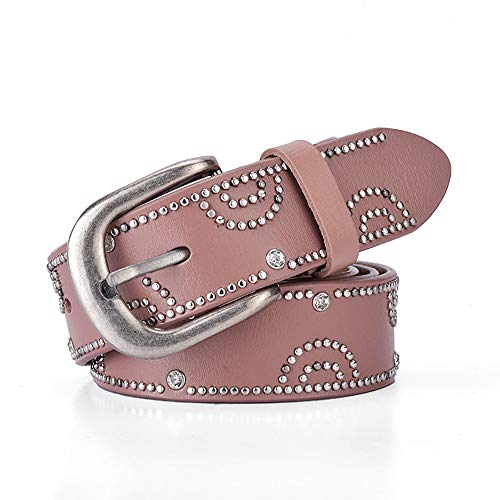 JenLn Cinturón con tachas Cinturón Punk con Tachuelas for Hombres y Mujeres con Diamantes de imitación con Incrustaciones de aleación Pin Hebilla de cinturón Cinturón de Jeans 6 Colores Opcionales