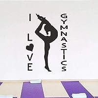ウォールステッカーヨガセンター瞑想ポーズガールフィットネスステッカーウォールウィンドウデカール取り外し可能なビニールの装飾17 * 49センチメートルカスタマイズ可能