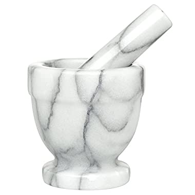 HIC Footed Mortar and Pestle Set, Spice Herb Grinder, Solid Carrara Marble
