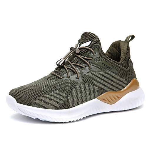 WETIKE Jungen Schuhe Sportschuhe Kinder Mesh Atmungsaktiv Laufschuhe Mädchen Sport Sneaker Turnschuhe Hallenschuhe für Damen1Grün34