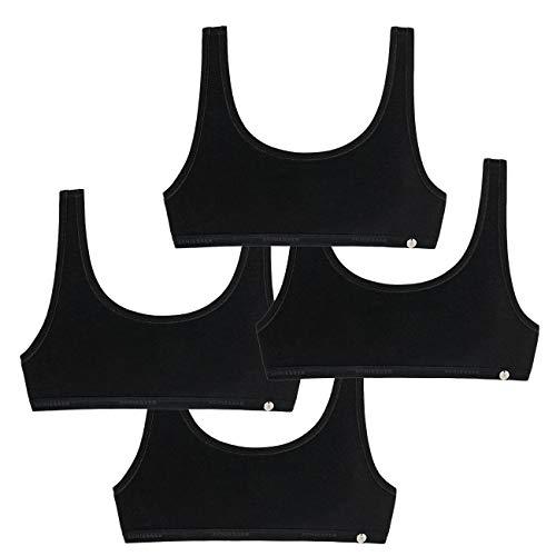 Schiesser Mädchen-Bustier 4er Pack, Größe:XS, Farbe:Black (000)