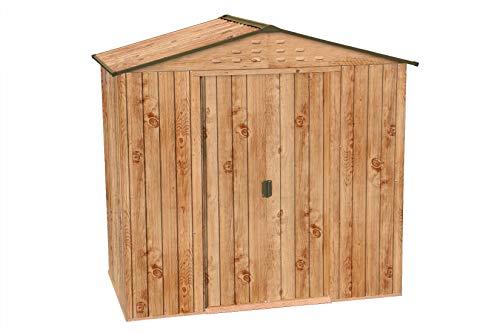 Metallgerätehaus Riverton 6x4 mit Schiebetüren aus pulverbeschichtetem, feuerverzinktem Stahlblech - nicht rostend | Wandstärke 0,33 mm | Farbe: Eiche