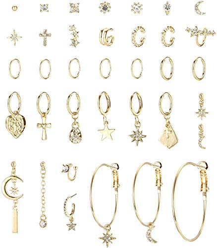 CASSIECA 36Pcs Gold Big Hoop Earrings with Star Rhinestones Small Hoop Earrings for Women Gold Ear Cuff Modern Fashion Earrings Jewelry Gift Mix Multiple Match Earrings Set Gold Earrings for Women