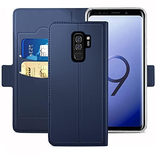 Handyhülle für Samsung Galaxy S9 Plus Hülle Leder Premium Tasche Hülle für Samsung Galaxy S9 Plus, Schutzhüllen aus Klappetui mit Kreditkartenhaltern, Ständer, Magnetverschluss, Blau
