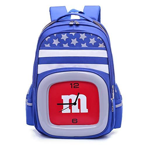 Schulrucksack Mädchen Teenager Kinderrucksack Daypack Schultasche Grundschule Backpack Schulranzen für Mädchen Jungen Teenager Jugendliche Einzigartige Form der Uhr-E