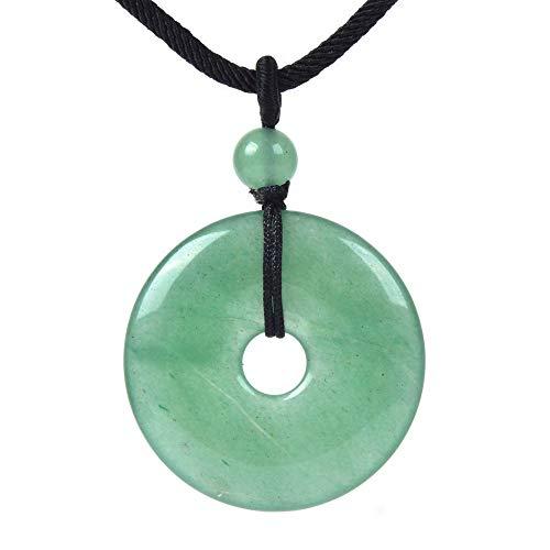 JUST IN STONES Natural Green Aventurine Gemstone 30mm Donut Beads Reiki Chakra Pendant Necklace Handmade Jewelry 22 Inch
