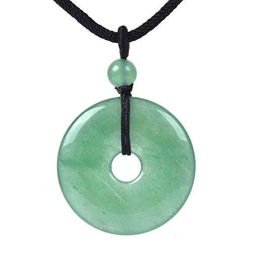 JUST IN STONES Natural Green Aventurine Gemstone 30mm Donut Beads Reiki Chakra Pendant Necklace Handmade Jewelry 22 Inch