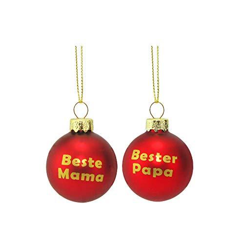 MC Trend Glas Weihnachtskugeln mit Mama - Papa - OMA - Opa - Rote Kugeln mit Goldenem Druck Geschenk Anhänger Weihnachtsbaum (2er Set Mama + Papa)