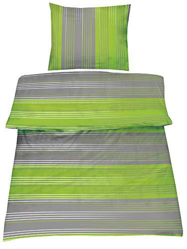 2-Teilig Hochwertige Biber Bettwäsche grau/grün 100% Baumwolle mit Reißverschluss 1x135x200 + 1x80x80 cm