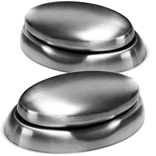 COM-FOUR® 2x roestvrijstalen zeep met roestvrijstalen zeepschaal - milieuvriendelijke roestvrijstalen zeep - ideaal tegen onaangename geurtjes op de handen (02 stuks - zeep roestvrij staal)