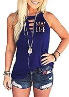 VITryst 女性印刷花のTシャツレタープリントラウンドネックタンクトップスブラウス Navy Blue XXL