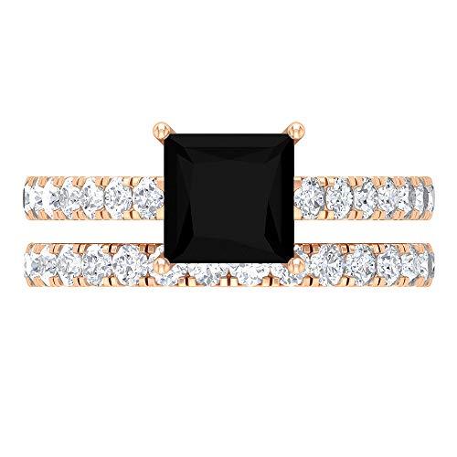 Conjunto de anillos de novia solitario, 6,5 mm, corte princesa, anillo de espinela negra, D-VSSI Moissanite media eternidad banda, anillo de piedra lateral (calidad AAA), 14K Oro rosa, Size:EU 70