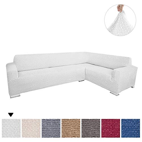 Sectional Sofa Cover - Corner Couch Cover - Corner Slipcover - Soft Polyester Fabric Slipcovers - 1-piece Form Fit Stretch Furniture Slipcover - Velvet Collection - White (Corner Sofa)