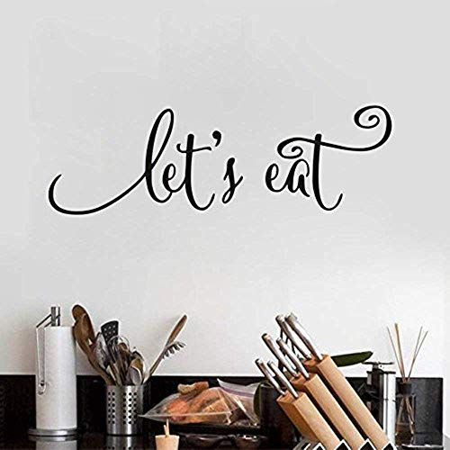 Let's Eat Kitchen Quotes Wall Decal Dining Room Wall Art Stickers DIY Home Decor Kitchen Wall Decal Restaurant Decorations,Black