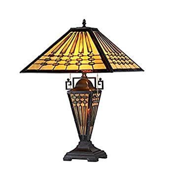 Chloe Lighting CH33215MG16-DT3 Chadrick Tiffany-Style Mission 3-Light Double Lit Table Lamp 16