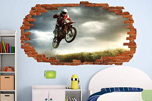 Pegatinas de pared Pegatinas de pared de motocicleta a campo traviesa en la motocicleta, tienda de oficina de motocicletas, habitación, decoración, calcomanía, mural