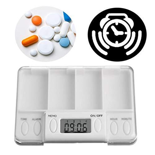 BrilliantDay Digitale Pillendose Wecker Pillenbox Timer Alarm Pillen Elektronische Pillenbox Pillentimer mit 4 Fächer Lagerung Für Reise und täglichen Gebrauch#5
