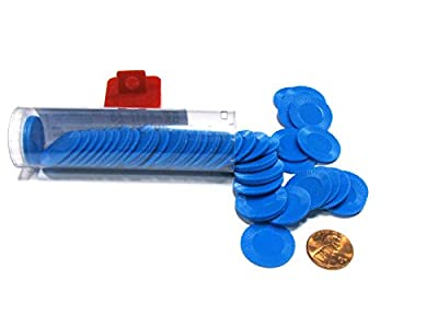 """Koplow Games Set of 50 7/8"""" Easy Stacking Plastic Mini Playing Poker Chips - Blue"""