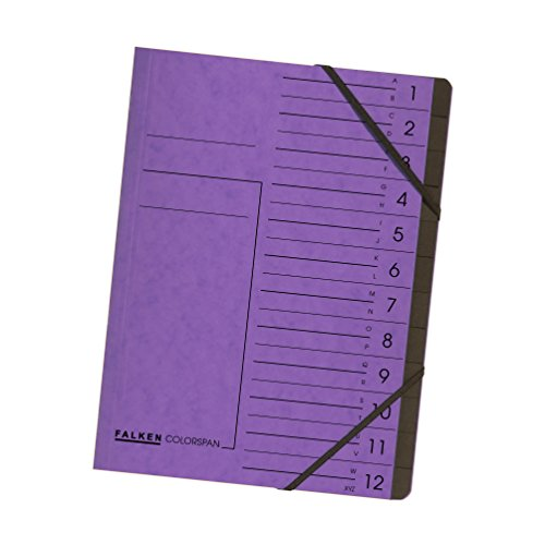 Original Falken Premium Ordnungsmappe. Made in Germany. Aus extra starkem Colorspan-Karton DIN A4 12 Fächer und 2 Gummizüge mit Organisationsdruck violett Ringmappe Register-Mappe