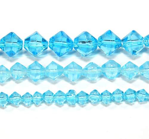 3 Stränge Kristall Glasperlen Set 4/6/8 mm Aquamarine Blau Doppelkegel Schmuckherstellung Schmuckperlen D315A