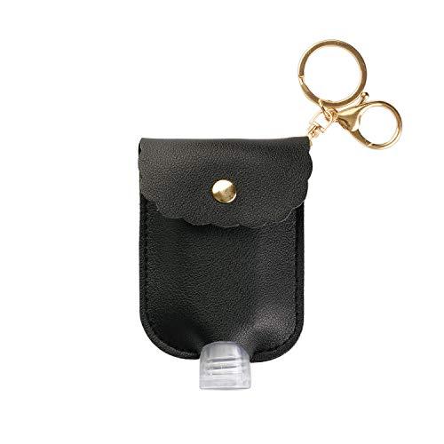 Llaveros Porta Gel desinfectante de Manos con Botella Recargable de 60ml y Tapa abatible (Negro)