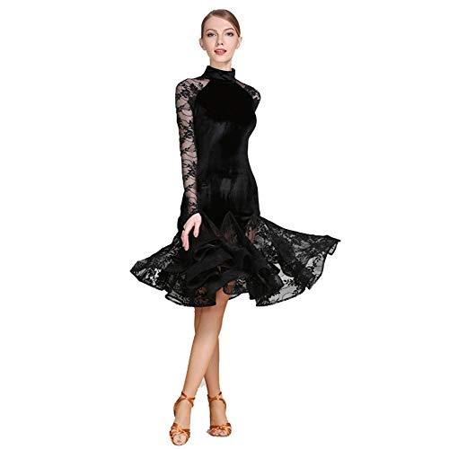 Velvet + kant volwassenen Latijnse dansrok high-end jurk kunst test dansjurk balzaal dansprestaties tonen prestaties