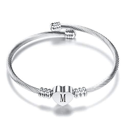 AMZ_store Mujeres Niñas 26 Inicial Nombre Letra Brazalete Pulseras Alfabeto Corazón A-Z Inicial Plata Brazalete Expandible Regalo Cumpleaños (Silver Bracelet - Letra M)