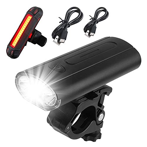 Victoper Bike Lights Set USB Rechargeable Bicycle Headlight & Rear Light Set, IPX5 Waterproof Bike Lights Cycling Riding Lamp LED Flashlight,6 Lighting Mode Options Fits All Bicycles, Road, Mountain