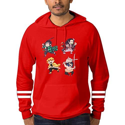 きめつのやいば パーカー スタイリッシュ 長袖 カップル着用 綿 男性と女性に適しています Red XXL