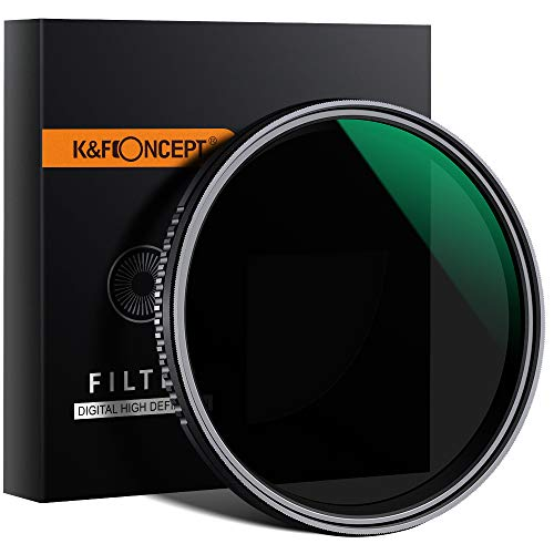 K&F Concept 55mm Filtro Densidad Neutra ND Variable ND8-ND2000 Slim MRC 18 Capas para Objetivo 55mm (9 Pasos)