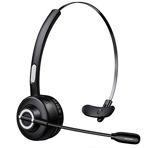 Zeonetak Bluetooth Headset mit Kabellosem Mikrofon, Professionelles PC-Headset, Leicht Funk-Headset for Freisprechen, Rauschunterdrückung, Callcenter, LKW-Fahrer (schwarz)