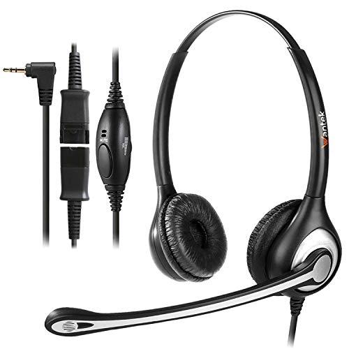2,5mm Schnurlos Telefon Headset Dual mit Noise Cancelling Mikrofon, Quick Disconnect, WANTEK Festnetztelefon Kopfhörer Telefonieren Headset für Gigaset C430 C610 S79H Panasonic Cisco Polycom(Y602QJ25)