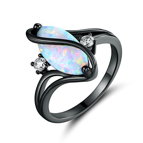 Barzel Black Rhodium Plated Created Fire Opal & Cubic Zirconia Accents Ring (7)