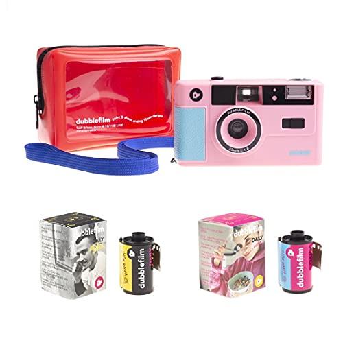 Dubblefilm Show - Fotocamera analogica da 35 mm con flash point, colore: rosa, custodia Nähe di...