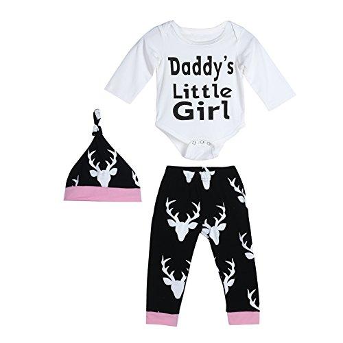Diamondo 3 pçs Macaquinho Infantil Infantil Infantil Manga Longa Letra Impressão Daddy's Little Girl Roupa de Chapéu (Idade (Mês): 12-18 meses