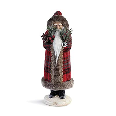 DEMDACO Santa Rosy Red Plaid 15 x 7 Polyester Fabric Holiday Collectible Figurine