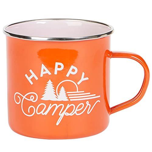 X&O Paper Goods Orange ''Happy Camper'' Enamel Coffee Mug, 16 fl. Oz.