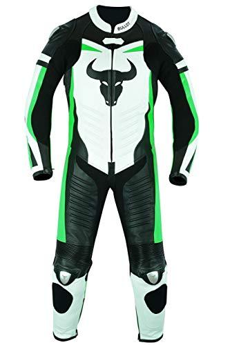 BULLDT Tuta da moto in pelle di vacchetta, con fluorescente, taglia: 60/4XL, colore: verde