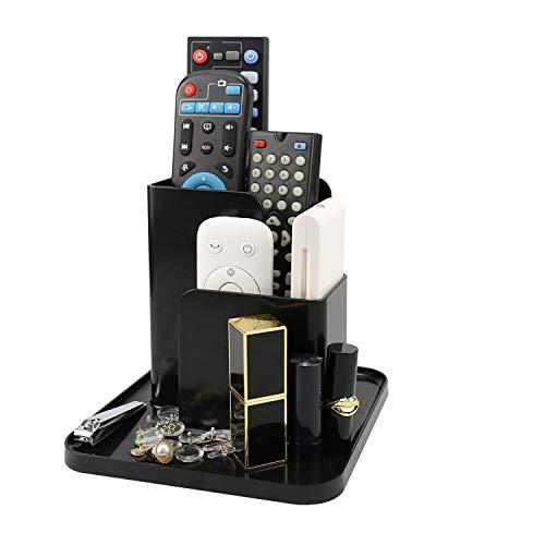 Organizador de escritorio multifuncional con 3 compartimentos para organizar el hogar y la oficina, para control remoto de TV, cepillo cosmético, gafas, llaves, color negro