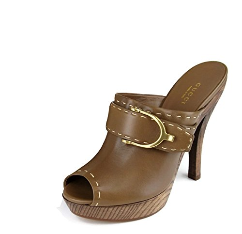 Gucci Brown Leather Clog Stirrup Platform Sandals 310351 EU 38...