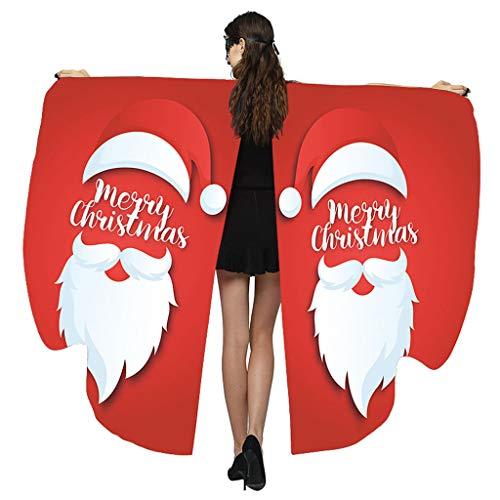 Yowablo Frauen Flügel Weihnachten Print Schal Damen Mantel Cape Kostümzubehör ( 168*135cm,F )