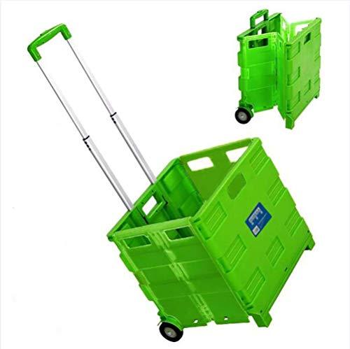 WYZXR Klappbarer Einkaufswagen mit Rädern Zusammenklappbarer Handrollkisten-Einkaufswagen für File Office Travel,65-Liter-Kapazität,2-Rad-Trolley-Handwagen mit Sitzplastik A/Grün