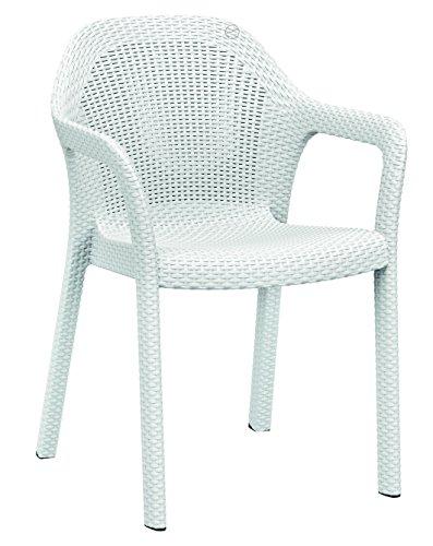 LECHUZA Stapelstuhl, weiß, Hochwertiger Kunststoff, Ergonomische, luftdurchlässige Sitzfläche, Platzsparend stapelbar, 10900