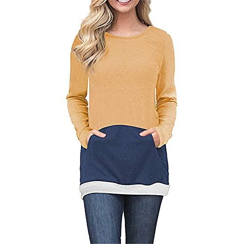 MQYXGS Otoño de Las Mujeres Impreso Empalme Bolsillo Top Camiseta Sudadera Pullover Top de Manga Larga Camiseta de Mujer Sudadera Top Casual Camiseta Holgada Delgada Camiseta de Moda para Mujer