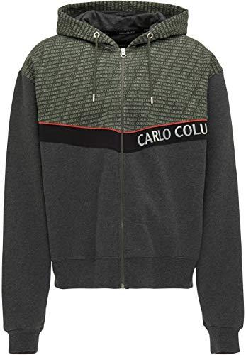 Carlo Colucci Sweatjacke im Color-Block-Dessin, Grün-Schwarz Grün XL