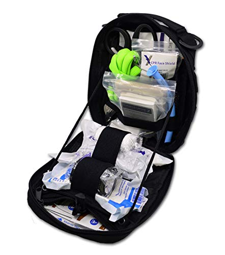 Lightning X Individual First Aid Trauma/Hemorrhage Control Kit in MOLLE IFAK Pouch Value Edition - Black