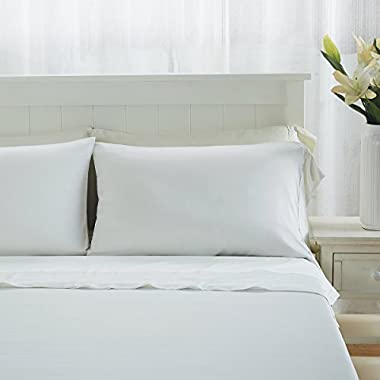 """Luxuriously Soft and Comfortable 4 Piece Tencel Sheet Set, Made From 100% Organic Eucalyptus Fiber, Hypoallergenic and Lightweight, Fits Mattress up to 18"""" Deep - Queen, Soft White - Flash Sale!!"""