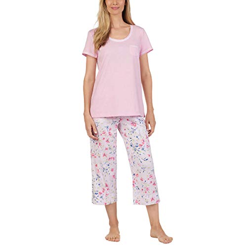 Carole Hochman Women's 3 Piece Pajama Set - Top, Short, and Capri Pant (Medium, Pink)