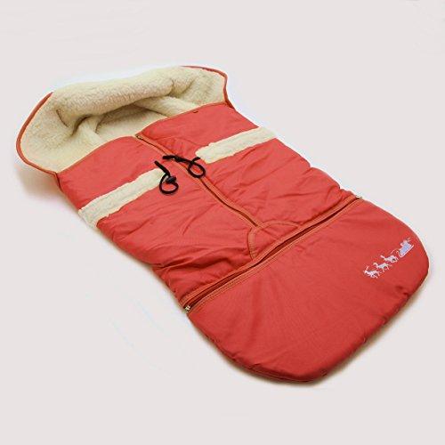HolzFee Alaska Big - Winter Fußsack Rot für Schlitten Kinderwagen Baby Schlittensack Lammwolle