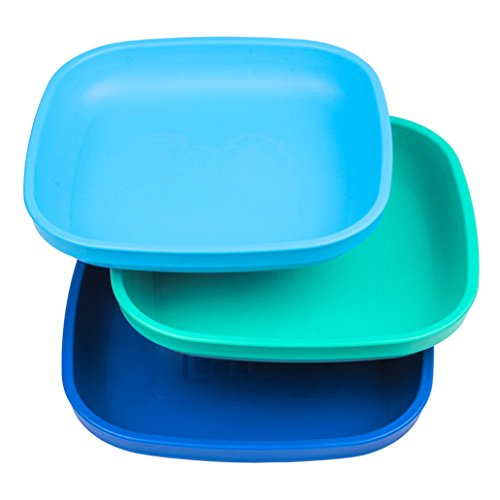 Re-Play Made in USA 3pk - 7.37' Plates with Deep Sides for Easy Baby, Toddler, Child Feeding - Sky Blue, Aqua, Navy Blue (True Blue Collection) Eco Friendly Heavyweight Recycled Polypropylene